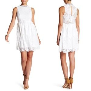 NEW WHITE LACE Embroidered MOCK Neck PEASANT DRESS
